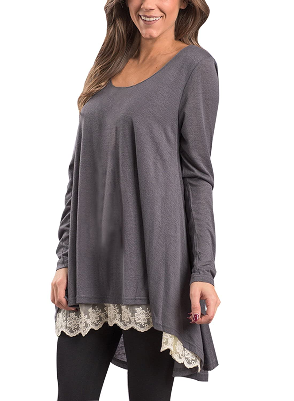 95027bc4b02 Dokotoo Womens Long Sleeve Layered Loose Fit Tunics Tops T Shirt at Amazon  Women s Clothing store