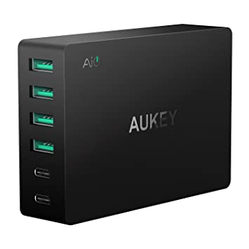 AUKEY USB C Cargador de Red 60W 6 Ports Cargador Móvil para Samsung Galaxy Note 8 / S8 / S7, Nexus 5X / 6P, LG G5 / G6, HTC 10, iPhone X / 8 / 8 Plus, ...