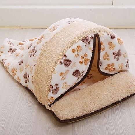 EMVANV Saco de dormir para mascota, cálido, de algodón, para gato, de