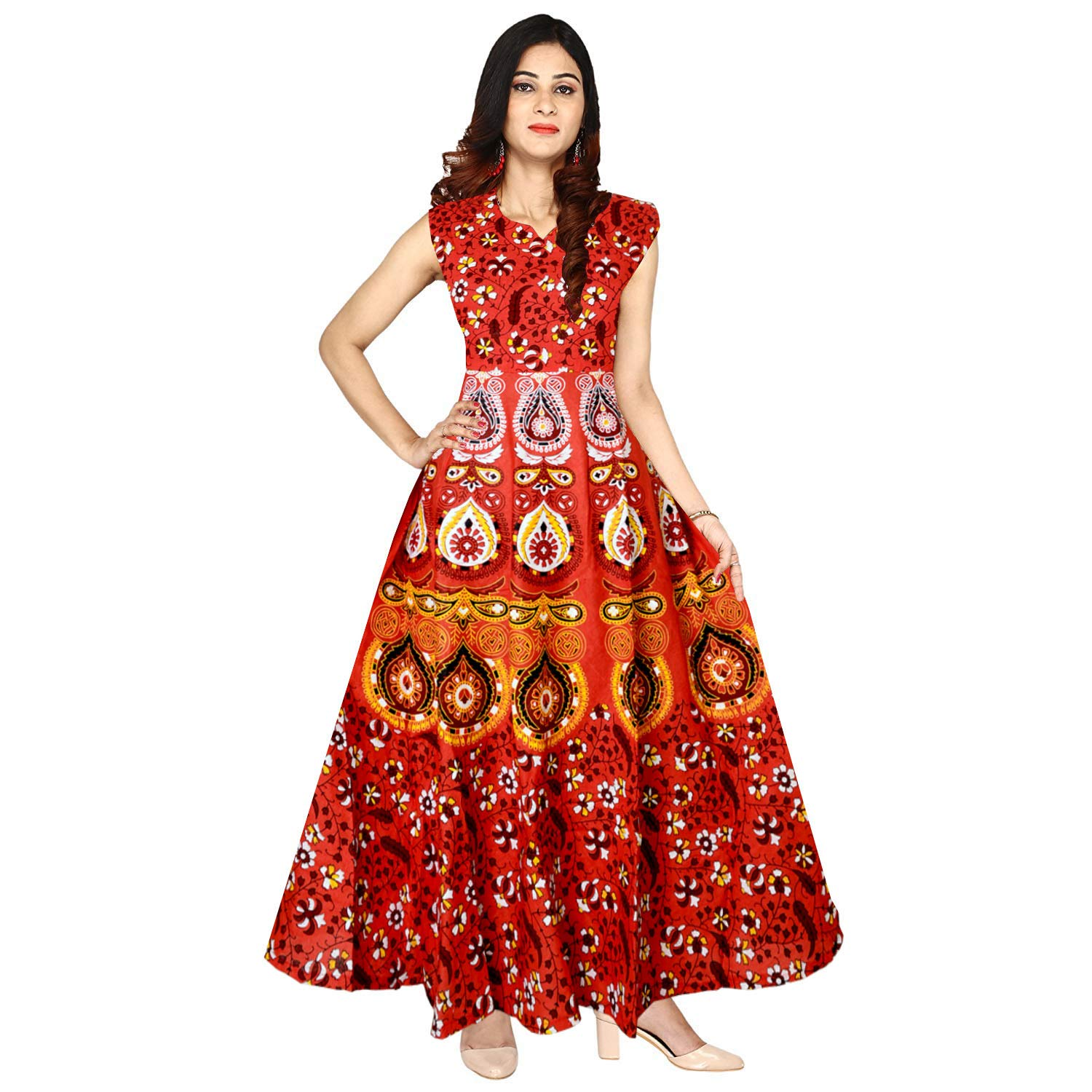 14a20f02a19 Silver Organisation Women s Cotton Traditional Jaipuri Print One Piece Hand  Made Midi Dress (Silver)  Amazon.in  Clothing   Accessories