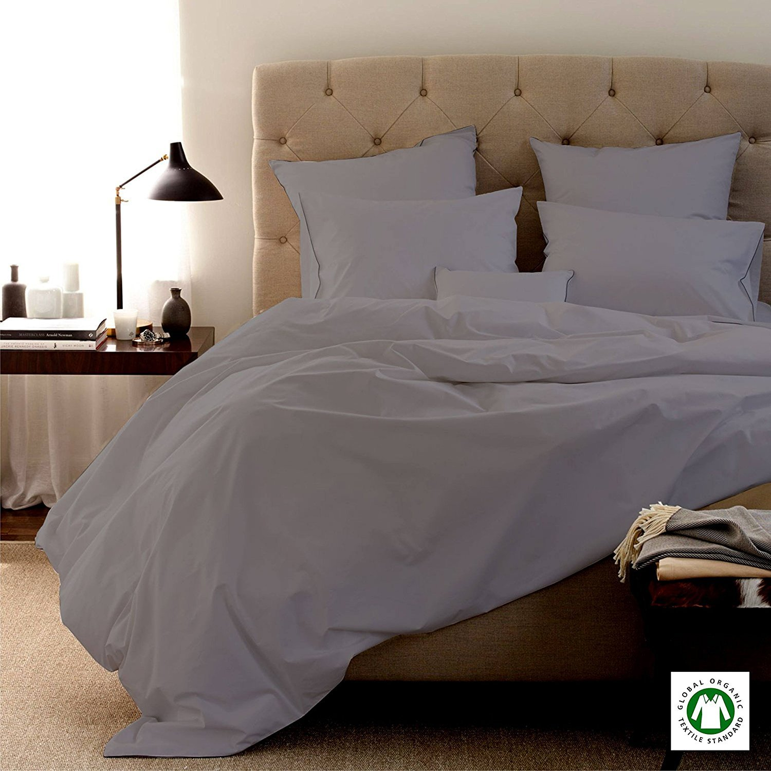 """Luxurious & Genuine Quality 600 TC Bedding Collection 100% GOTS Certified Organic Cotton 4 PC Sheet Set with 15"""" Deep Pocket Ultra Soft Cozy Italian Finish Solid by BEDDING HOMES(Full, Silver Grey)"""