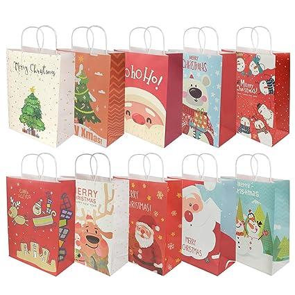 RIOGOO 10 PCS Bolsas de regalo de Navidad, Bolsas al por menor Bolsas de papel para fiestas Bolsa Kraft con asa para Navidad, cumpleaños, fiesta de ...