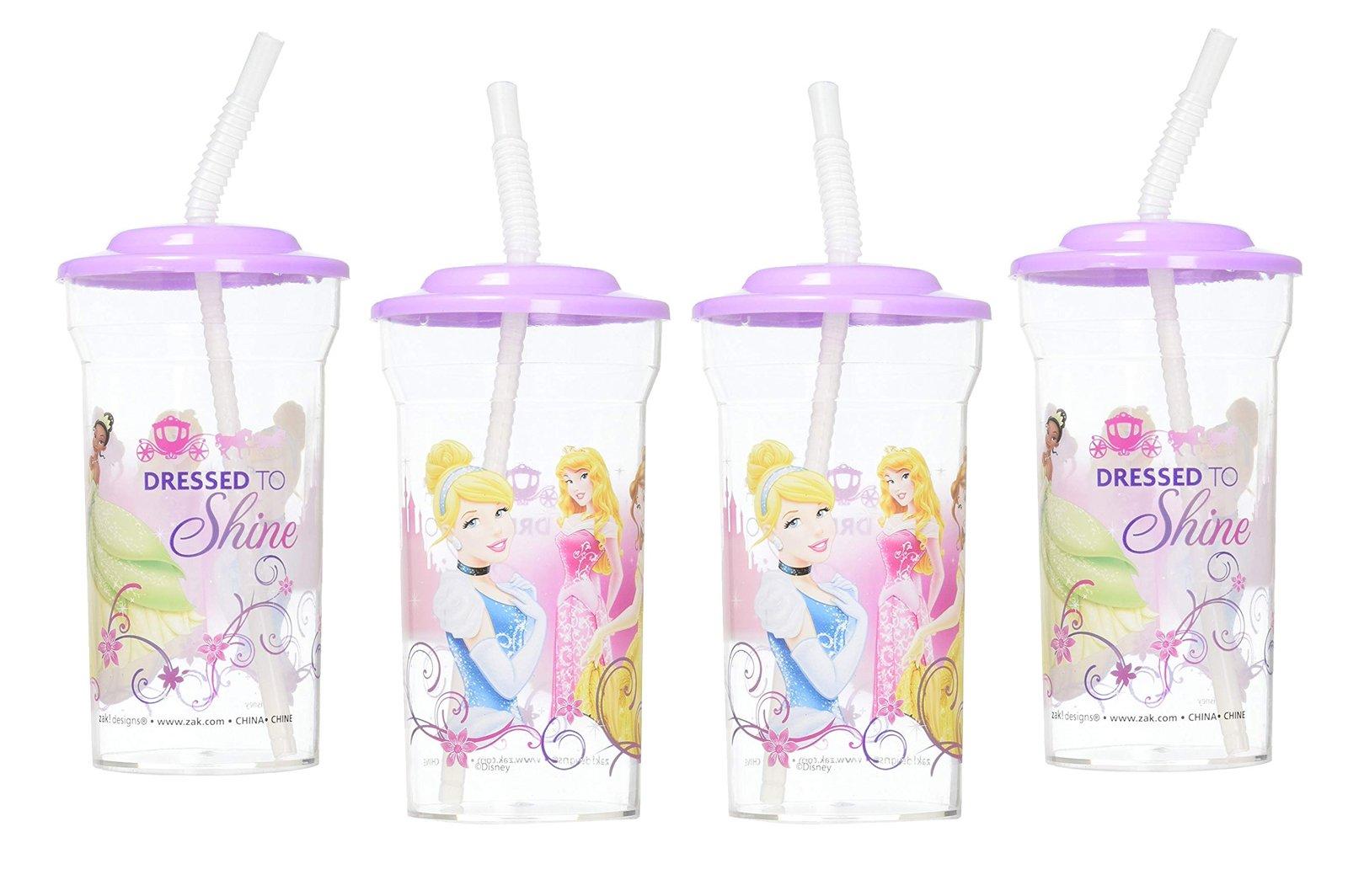 Zak Designs 4-Pack Disney Princess 16oz Sports Tumbler Cups with Pink Lids & Flex Straws
