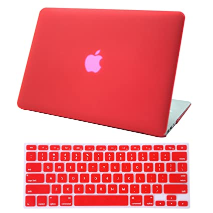 huge discount 84772 27619 HDE MacBook Air 13 inch Case - Hard Shell Cover Keyboard Skin Fits Previous  Generations A1466 A1369 (2008-2017) - Red