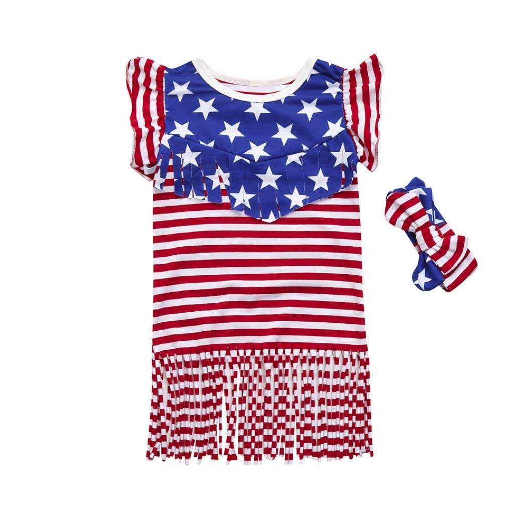 67b4d4944 Amazon.com: Hatoys 4th of July Star Clothes, Toddler Baby Girls Ruffles  Striped Dress: Clothing