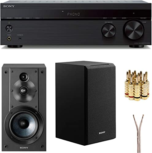 Sony STRDH190 2-ch Stereo Receiver with Phono Inputs Bluetooth SSCS5 3-Way 3-Driver Bookshelf Speaker System Black