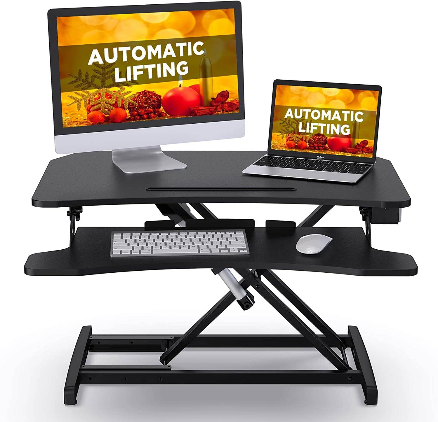 ABOX Electric Powered Lifting Standing Desk Converter, 34″ Height Adjustable Sit Stand Desk Riser