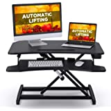 """ABOX Electric Powered Lifting Standing Desk Converter, 34"""" Height Adjustable Sit Stand Desk Riser, Dual Monitors…"""