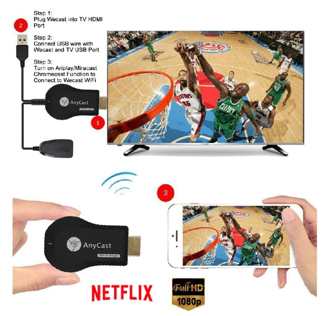 WiFi Wireless Display Dongle 1080P Mini Receiver Sharing HD Video from Projectors Cell Phones Tablet PC Support Airplay/ Chromecast/Chromecast Tv/Miracast/Miracast Dongle for Tv by Colorful lucky (Image #6)