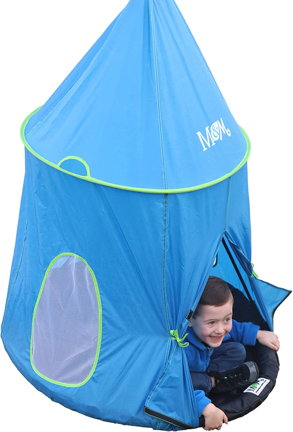 Turn Any 39in Round Swing into a 360-Degree Enclosed Floating Outdoor Fun Center Hangs Two Ways Portholes for ventilation Split Curtain Entry Big Top Tent Swing Accessory Quick to Attach//Detach