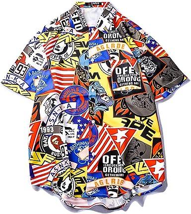 GUJMin Camisa de Manga Corta para Hombre, Suelta, Playera, Flor, Playera Hawaiana para Parejas - - X-Large: Amazon.es: Ropa y accesorios