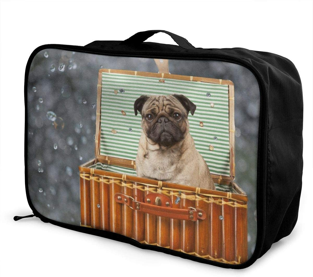 Yunshm Cute Dog Sitting In The Basket Personalized Trolley Handbag Waterproof Unisex Large Capacity For Business Travel Storage