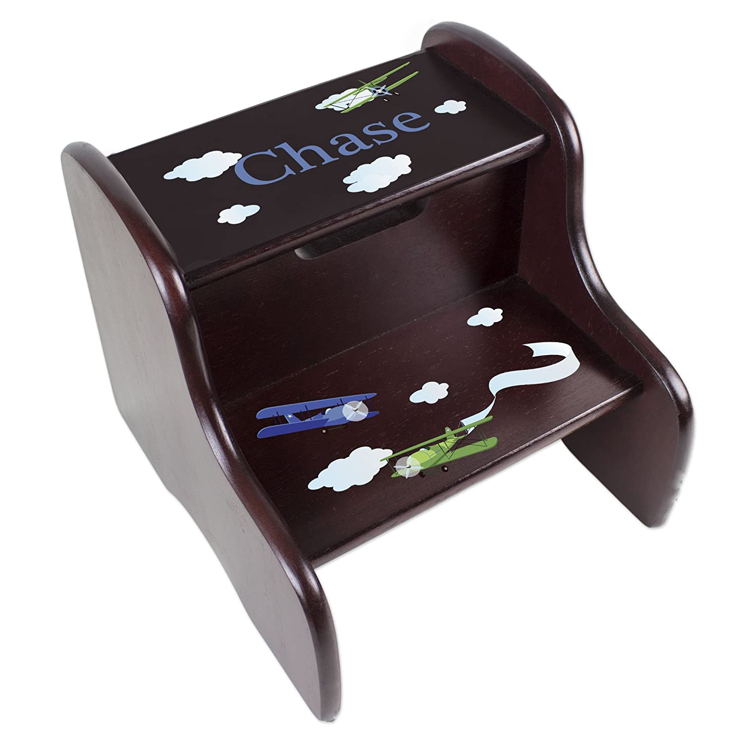 Personalized Boys Airplane Espresso Step Stool MyBambino FIXE-esp-204