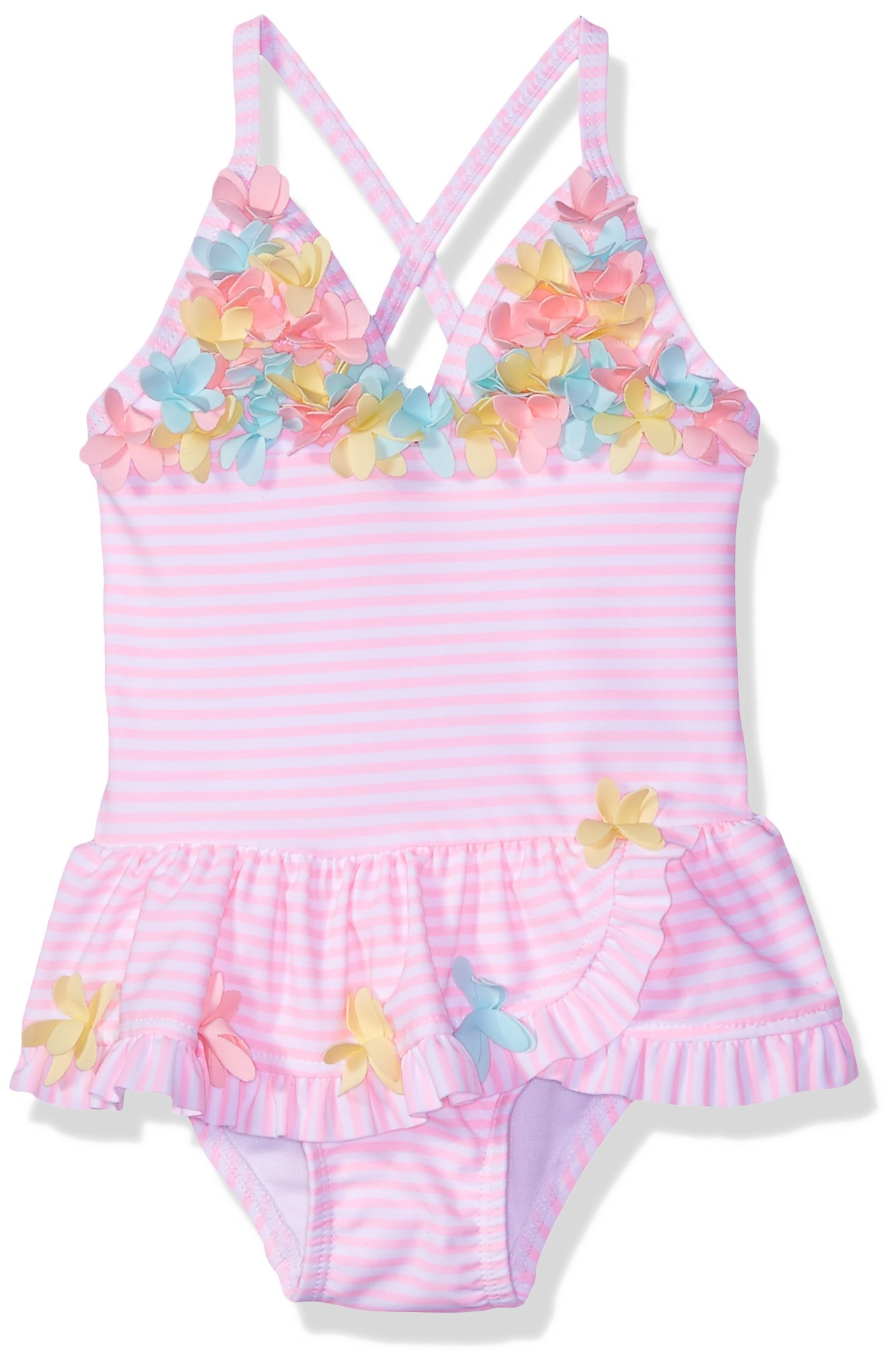 Little Me Kids' Baby and Toddler Girls UPF 50+ One Piece Swimsuit, 3D Multi Pink, 2T by Little Me