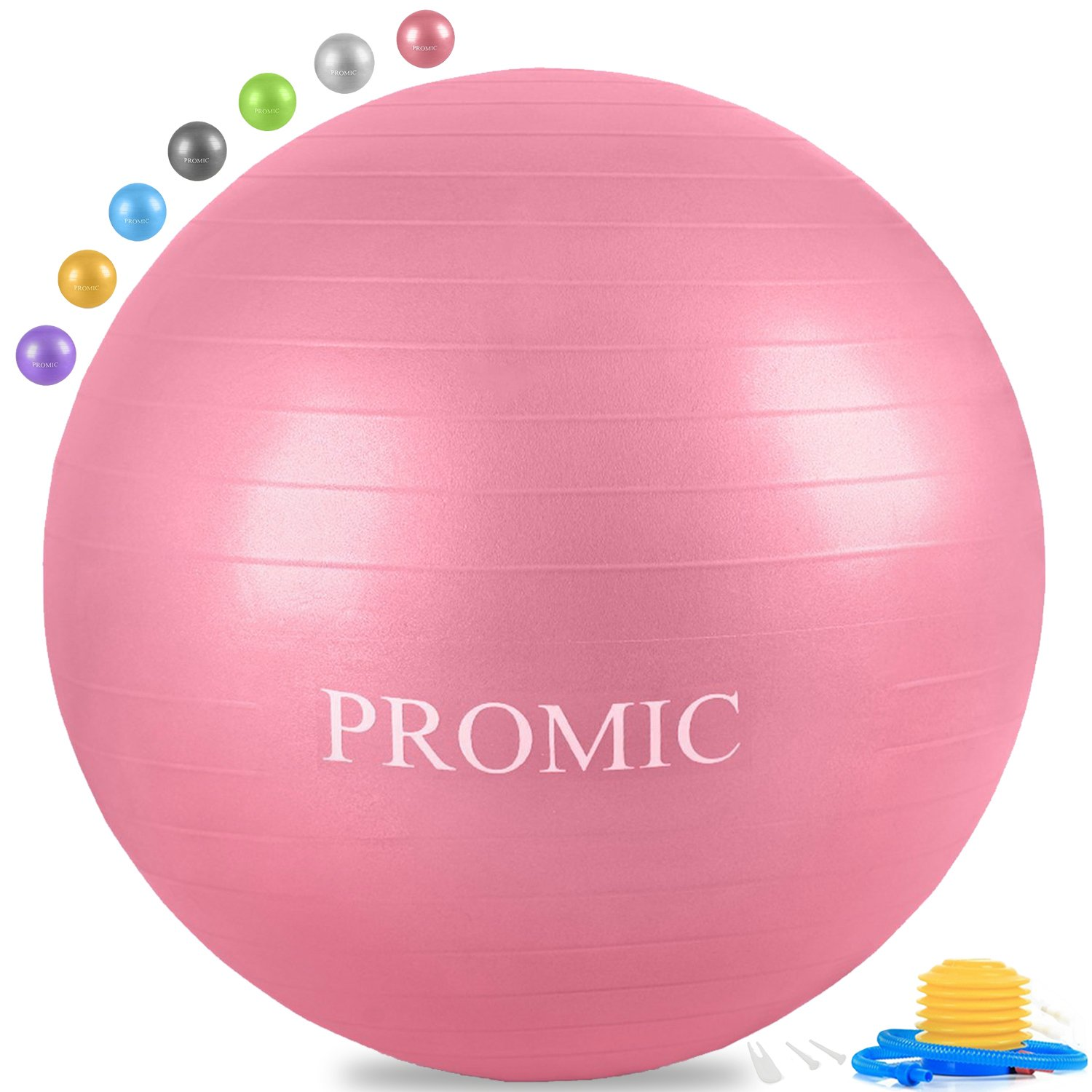 PROMIC Professional Grade Static Strength Exercise Stability Balance Ball with Foot Pump,65cm,Pink