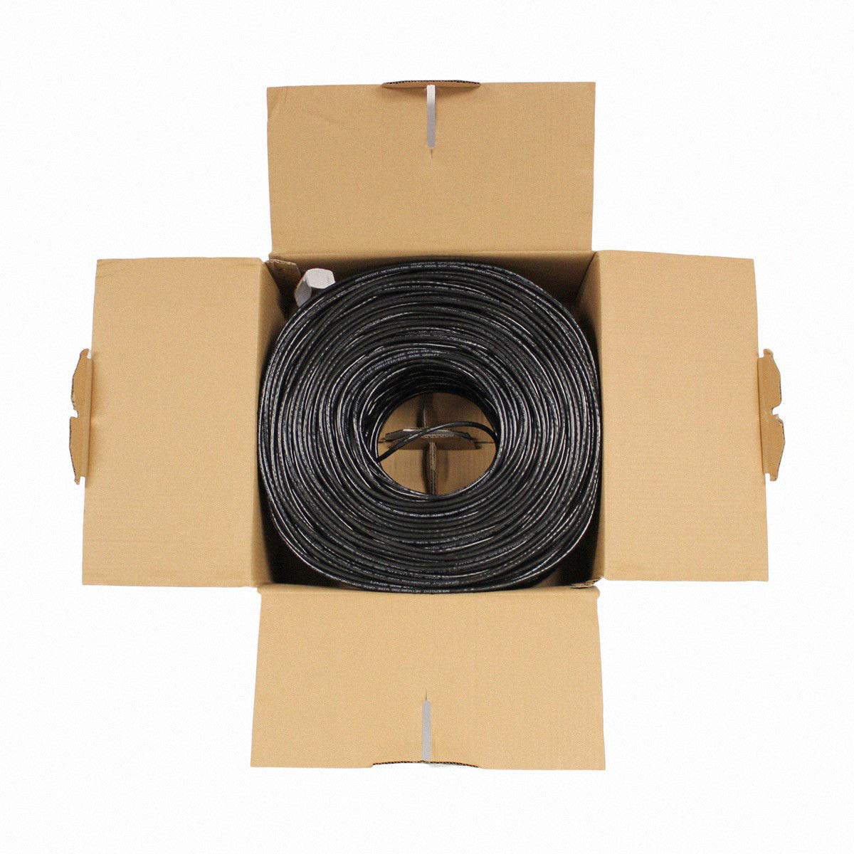 CCA Black Solid Bulk Ethernet Cable UTP 1000ft Unshielded Twisted Pair NavePoint CAT5e 24AWG 4 Pair