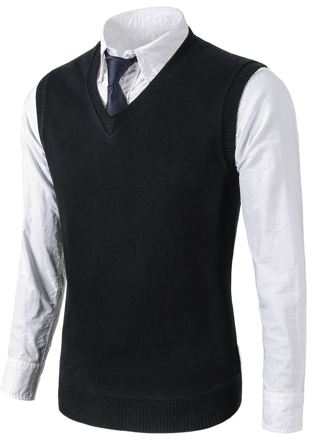 MIEDEON Mens Various Color Casual Slim Fit Knit Vest sweater,Large,Black