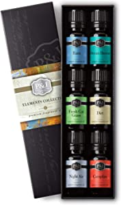 Elements Set of 6 Fragrance Oils - Premium Grade Scented Oil - 10ml - Campfire, Night Air, Ocean Breeze, Dirt, Rain, Fresh Cut Grass