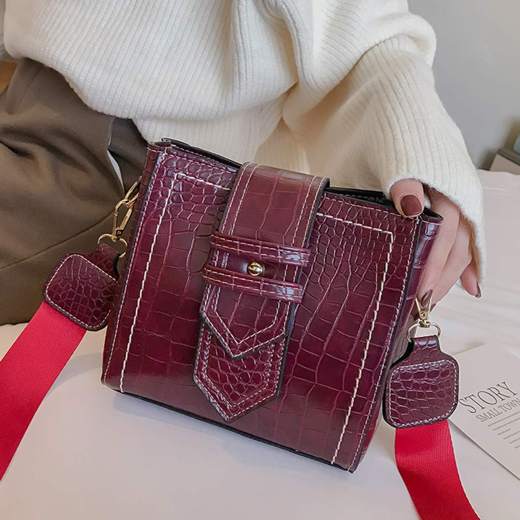 Adagod Womens Fashion Flap Bag Patent Leather Broadband Crossbody Shoulder Bag