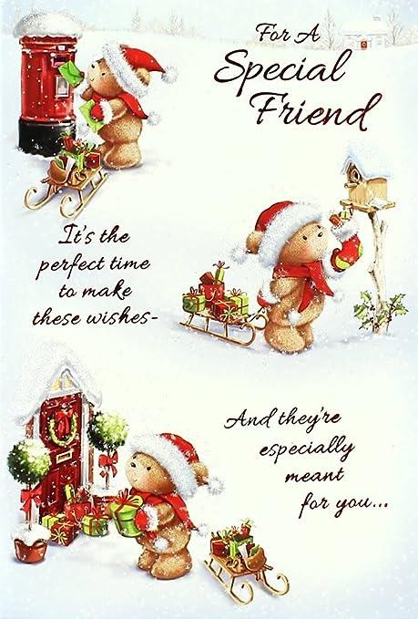 Immagini Di Natale Per Amici.Biglietto Di Auguri Di Natale Per Gli Amici Con Babbo Natale Un Orso Una Porta Rossa Una Slitta E Una Cassetta Delle Lettere 19 X 13 5 Cm Amazon It Casa E Cucina