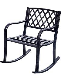 giantex patio metal rocking chair porch seat deck outdoor backyard glider rocker bronze