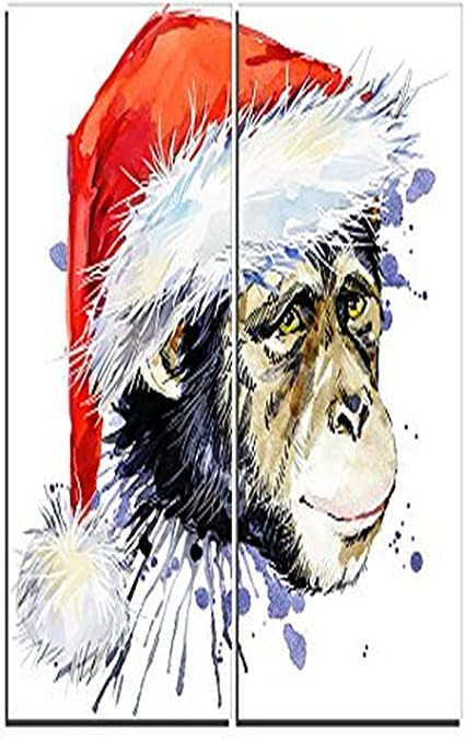 Amazon Com Designart Monkey Santa Clause Animal Canvas Artwork 40x40 2 Piece 40x40 2 Panels Red