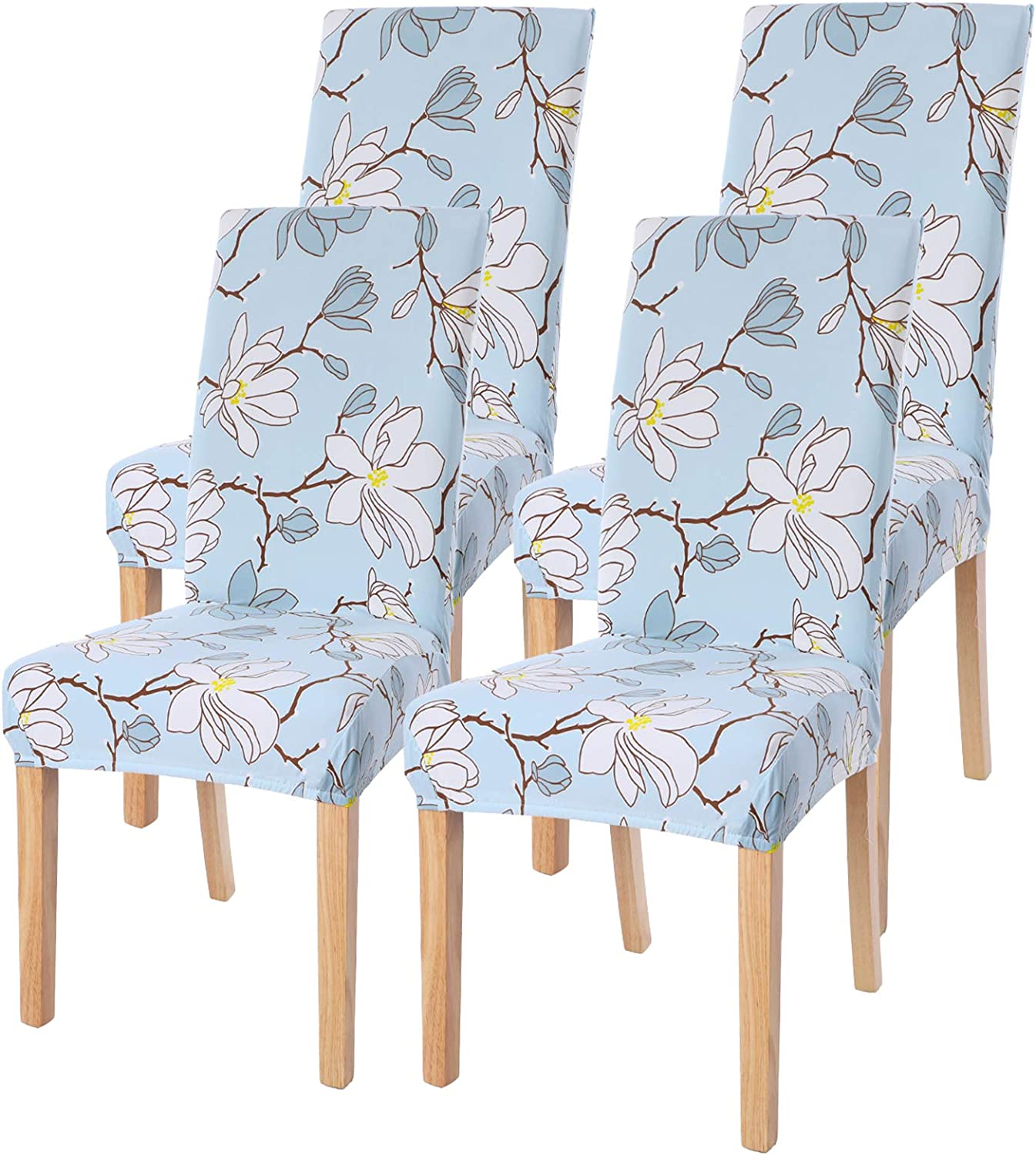 Dining Room Chair Covers Slipcovers Set of 4, SearchI Spandex Fabric Fit Stretch Removable Washable Short Parsons Kitchen Flower Chair Covers Protector for Dining Room (Light Blue, 4 per Set)