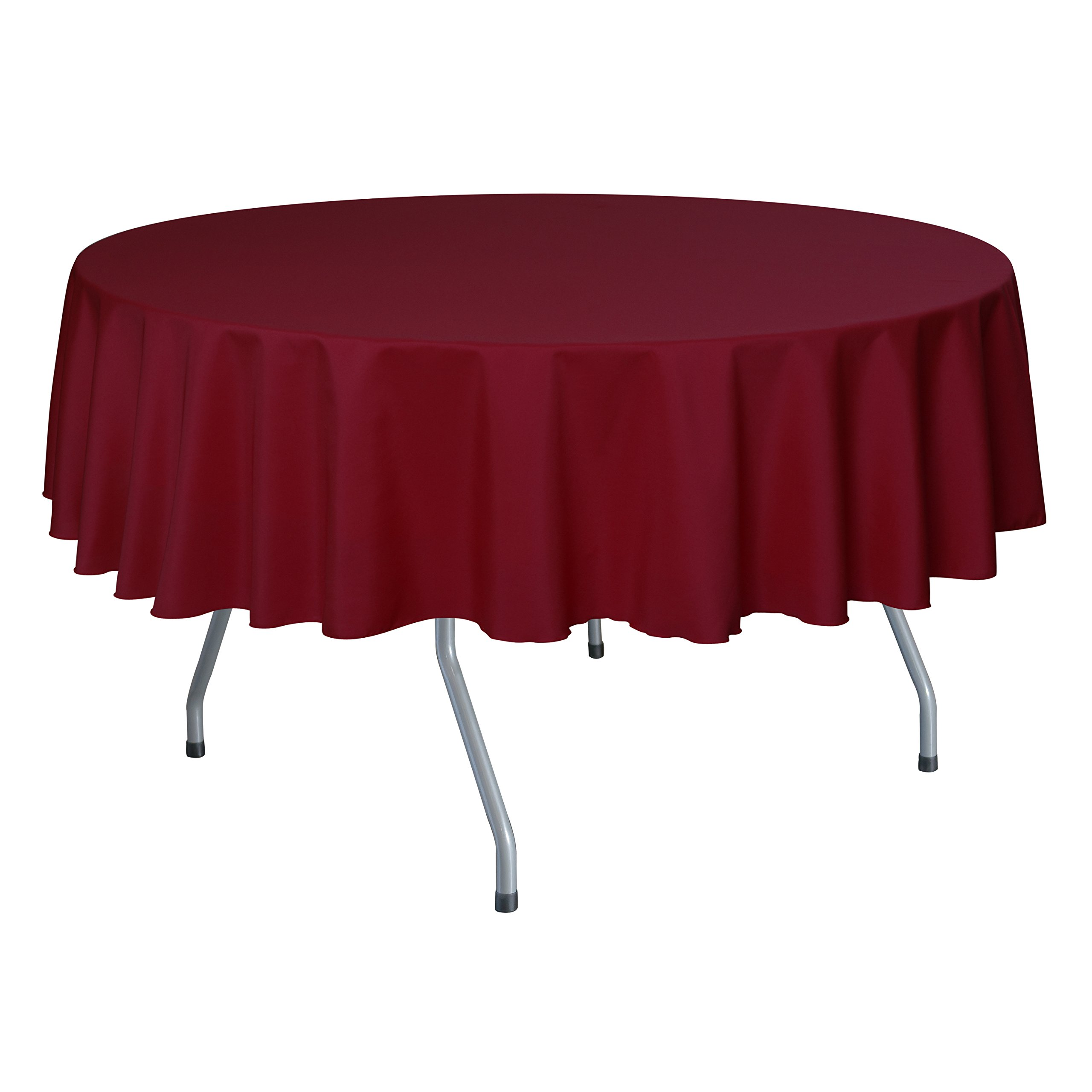Ultimate Textile (10 Pack) 84-Inch Round Polyester Linen Tablecloth - for Wedding, Restaurant or Banquet use, Holiday Christmas Red