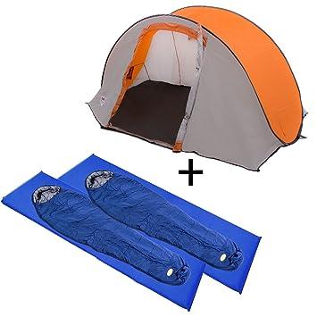 Camping set compuesto de Reimo Zermatt tienda para 2 personas + 2 x Camp 4 momia saco de dormir + 2 x Camp 4 colchoneta autoinflable (: Amazon.es: Deportes ...