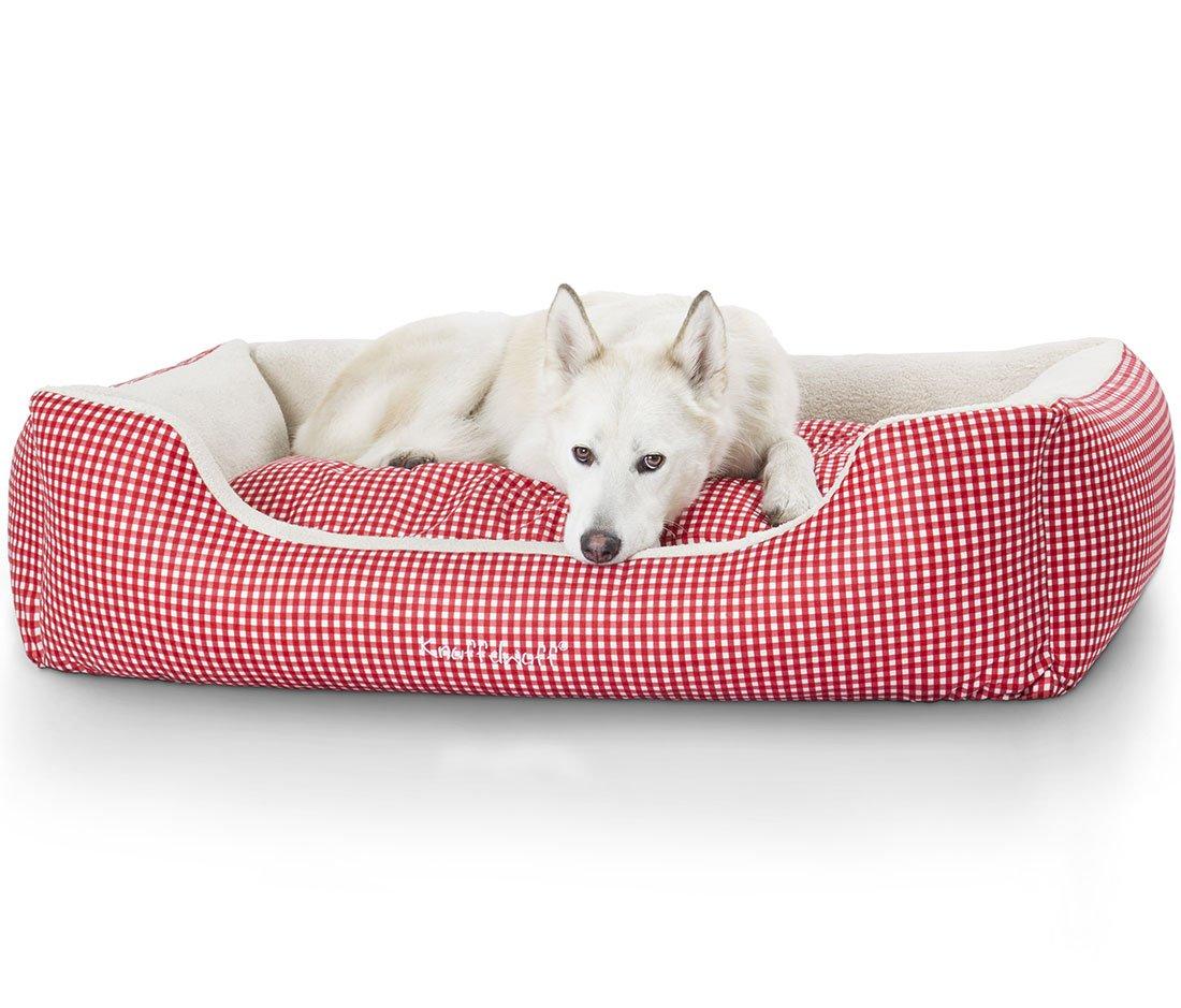 Knuffelwuff panier chien, lit pour chien, coussin, corbeille pour chien Lina rouge XL 105 x 75cm 13100
