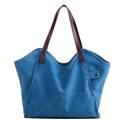 LOSMILE Mujer Bolsos de mano lona bolsos de hombro Bolsos totes Bolsos bandolera Shoppers Bolsa de playa. (Azul)