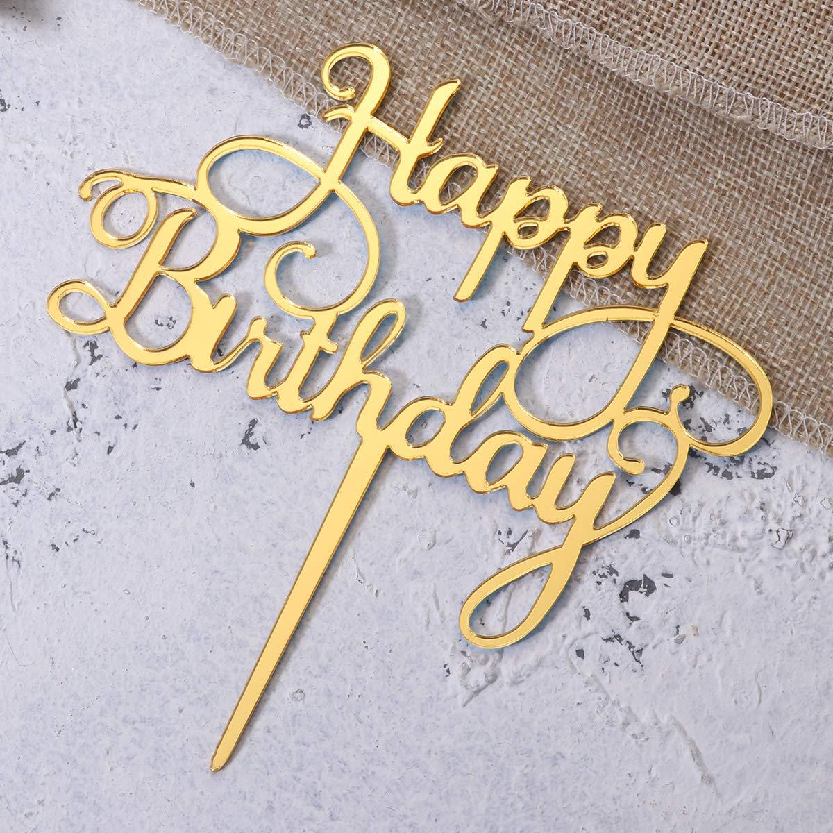 Amosfun 2PCS Happy Birthday Cake Topper Decorazione Torta di Compleanno Forniture per Il Compleanno di Matrimonio