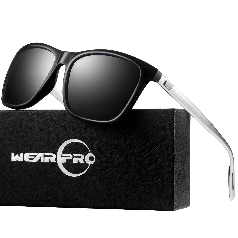 Sunglasses for Men-wearpro Polarized Vintage Men`s Sun Glasses WP1003 (Black&silver) by wearpro