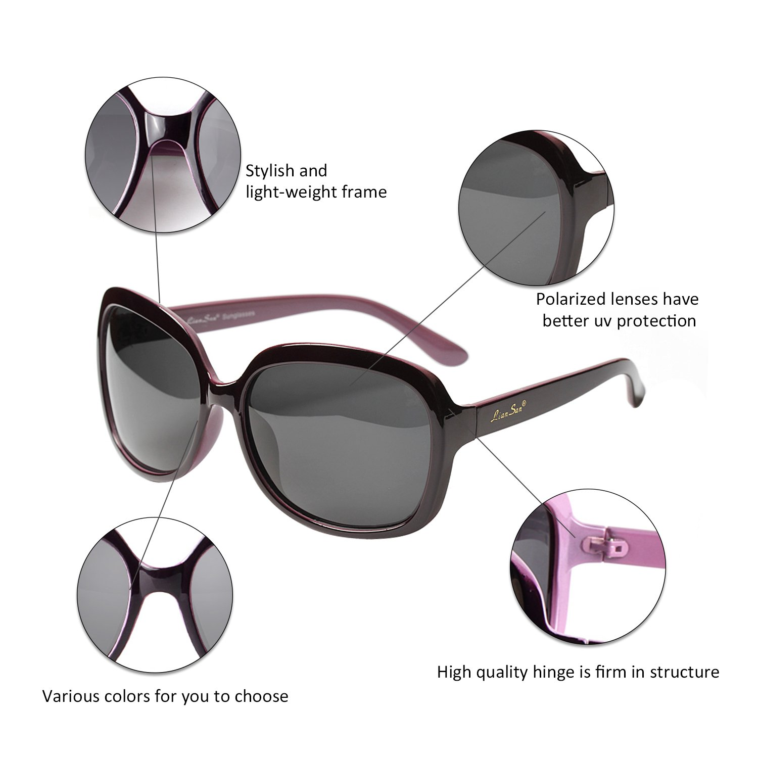 5d43140b1bc89 LianSan Oversized Womens Sunglasses Polarized uv Protection Simple  Sunglasses LSP301 (Polarized Purple)