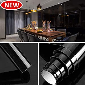 Homease Black Peel and Stick Wallpaper Self Adhesive Contact Paper for Kitchen Countertops Cabinets Furniture Waterproof Decorative Film 24 X 196 in