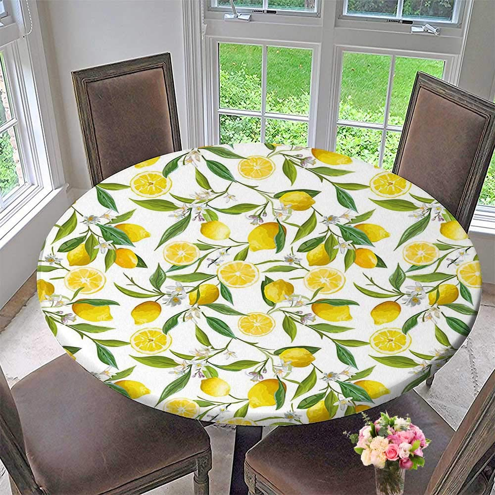 """Mikihome Round Premium Table Cloth Lemon Tree Branches Yummy Delicious Gardening Design Fern Green Yellow White Perfect for Indoor, Outdoor 35.5""""-40"""" Round (Elastic Edge)"""