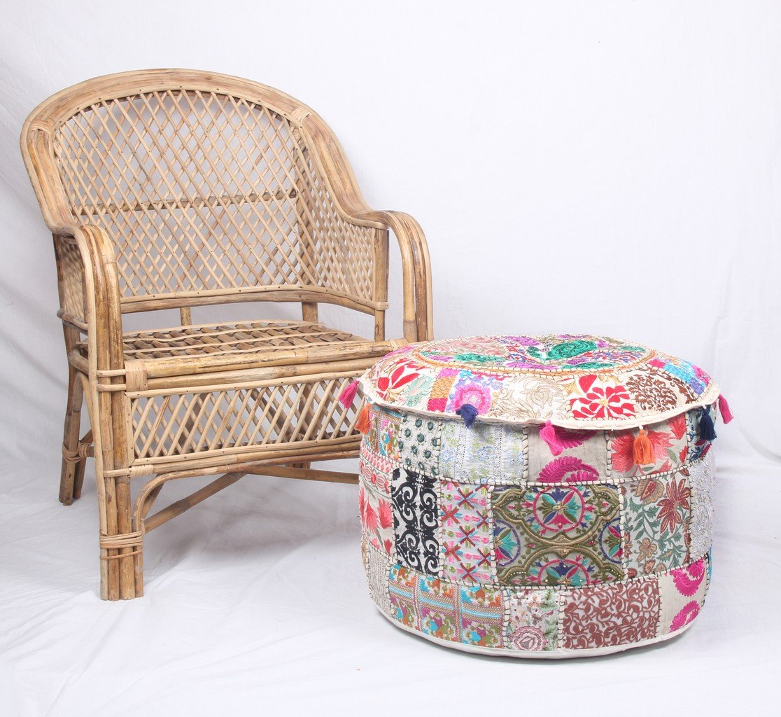 Jaipur Textile Hub JTH Decorative Indian Pouf Ottoman Round Patchwork Ethnic Floor Décor Ottoman (Size: 20X12X20 Inch) JTH-OP-FBA1 (White)