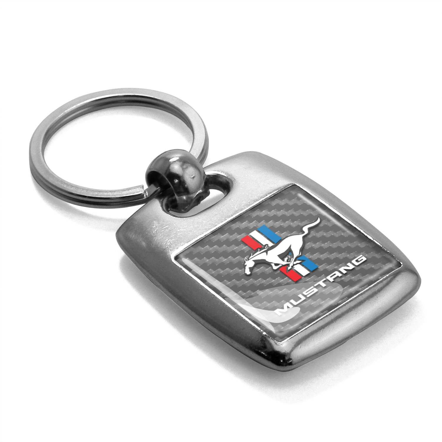 Made in USA Ford Mustang Tri-Bar Silver Carbon Fiber Backing Brush Metal Key Chain