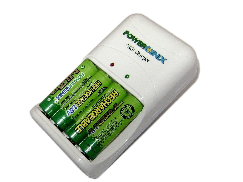 スマートクイックniZN充電器& 4 AA 1.6 V 2500 mwh ni-zn充電式バッテリーホワイト B072BXQ5BH
