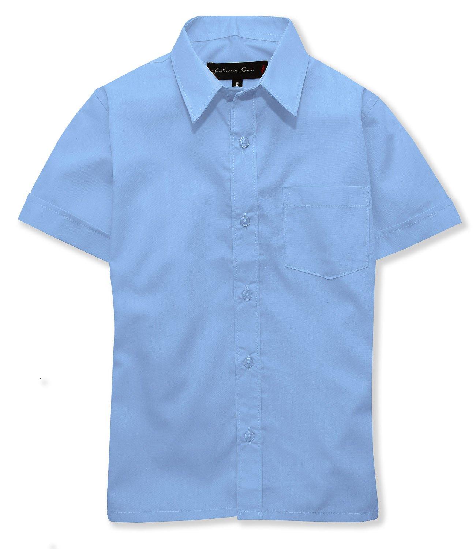 Johnnie Lene Boys Short Sleeves Solid Dress Shirt