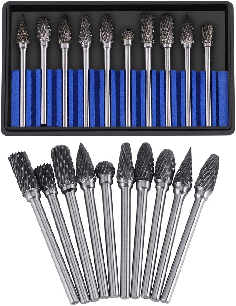 NCONCO 10pcs Carbide Burrs Set Tungsten Carbide Steel Rotary Files Burr Set 3mm Shank 6mm Cutting Diameter Double Cut