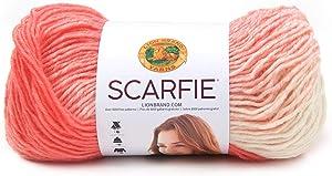 Lion Brand Yarn 826-227 Scarfie Yarn, Coral/Cream