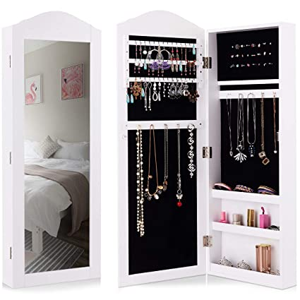 Giantex Jewelry Armoire Cabinet Wall Mounted With Mirror Rustic Full Length  Mirrored Storage Organizer Multiple Shelves