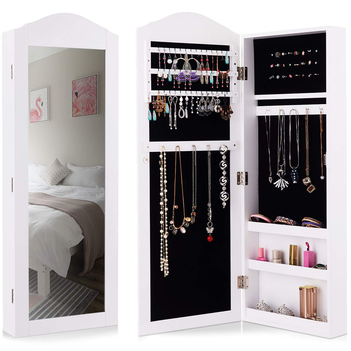 Giantex Jewelry Armoire Cabinet Wall/Door Mounted with ...
