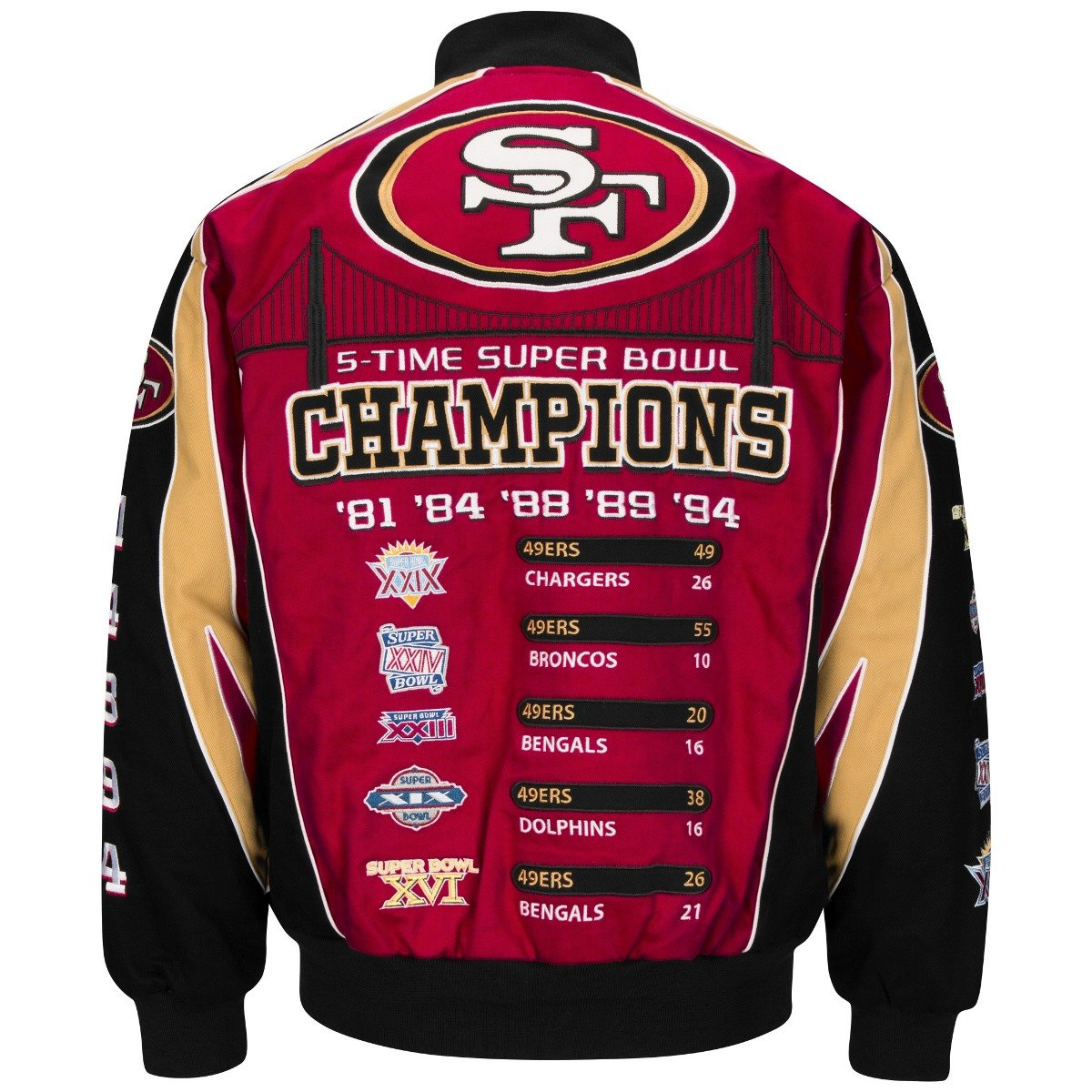 159ae9005 Amazon.com : San Francisco 49ers 5-time Super Bowl Champion Twill Jacket  (red/black/tan, Large) : Sports & Outdoors