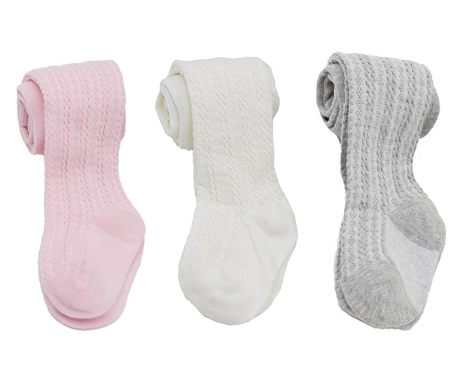 YallFairy 3 PACK Baby Kids Girls Cable Knit Tights Leggings Stocking Pants (5-6 years, white+pink+gray)