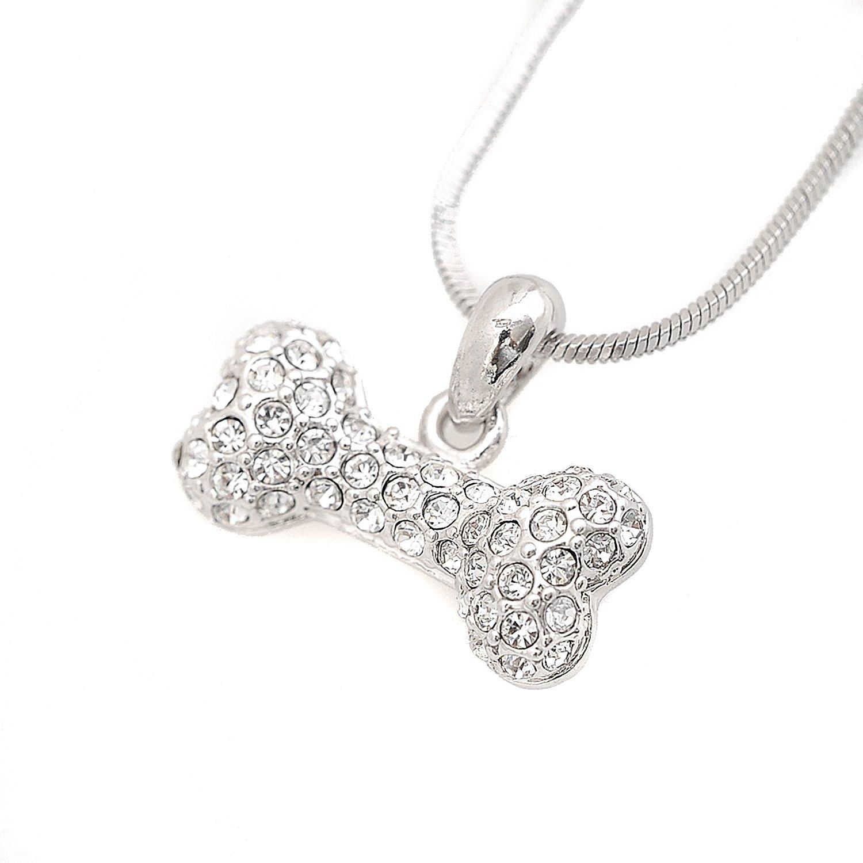 Amazon Spinningdaisy Silver Plated Crystal Dog Bone Necklace