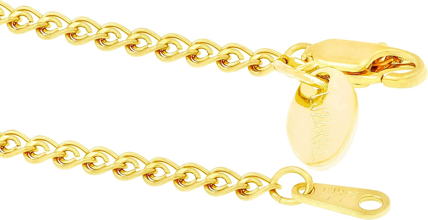 Lifetime Jewelry 2.7mm Open Weave Link Anklet for Women /& Girls 24k Real Gold Plated