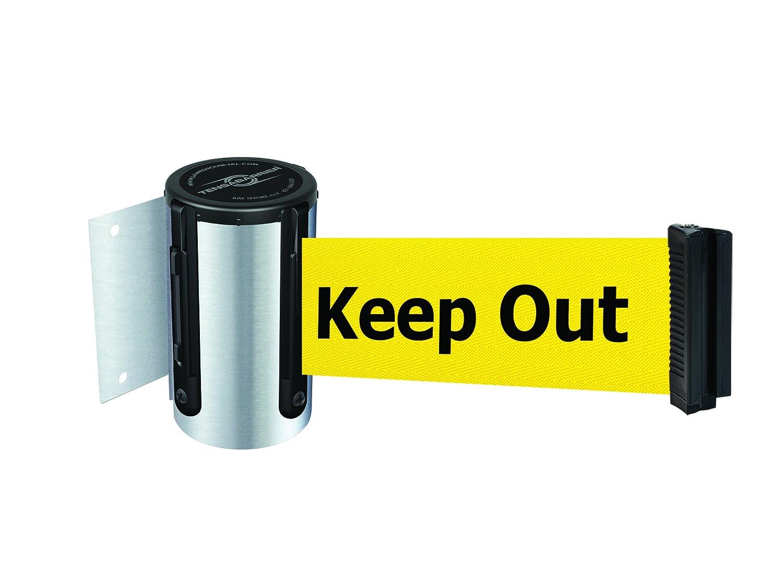 Keep Out Standard Belt End Satin Chrome Tensabarrier 896-STD-1S-MAX-NO-YDX-C Standard Wall Mount No Custom Yellow Webbing//BlackDanger Maximum 13