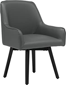 Studio Designs Home Spire Luxe Swivel Accent Chair with Arms, Guest/Dining/Office, Black/Smoke Grey Blended Leather